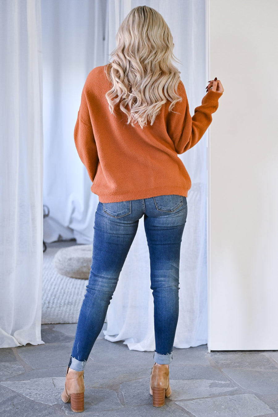 Cozied Up Fuzzy Knit Sweater - Rust womens brushed knit super soft round neck pullover sweater closet candy front