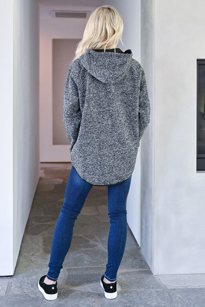 No Worries Hooded Pullover - Heather Black womens casual hooded pullover with button details and front pocket closet candy back
