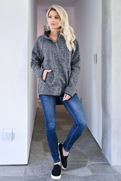 No Worries Hooded Pullover - Heather Black womens casual hooded pullover with button details and front pocket closet candy front 2