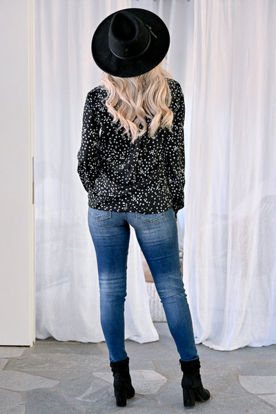 Just Look Up Star Top - Black womens trendy button up star print collared long sleeve top closet candy back