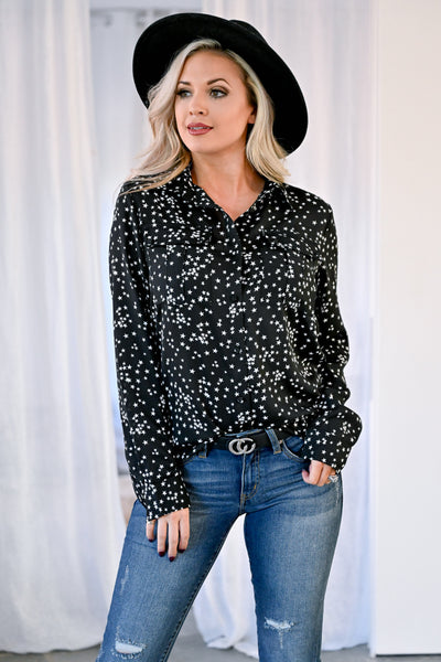 Just Look Up Star Top - Black womens trendy button up star print collared long sleeve top closet candy front