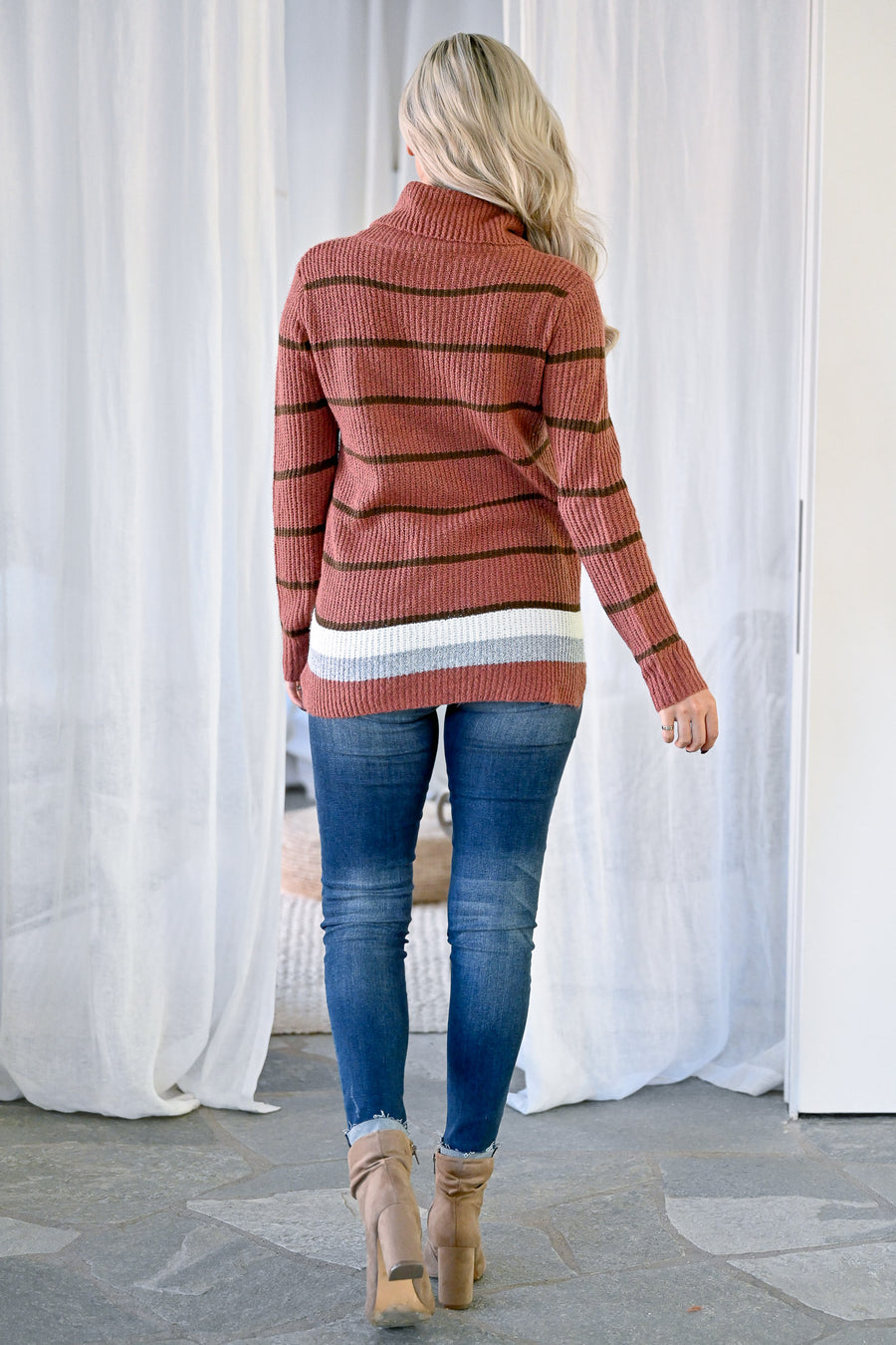 Cover Girl Striped Turtleneck Sweater - Rust womens casual long sleeve striped turtle neck sweater closet candy front 2