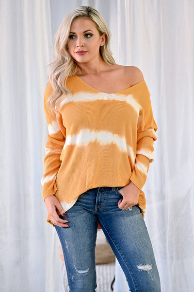 Like This Forever Tie Dye Top - Mustard womens casual oversized ribbed knit long sleeve tie dye top closet candy front 2