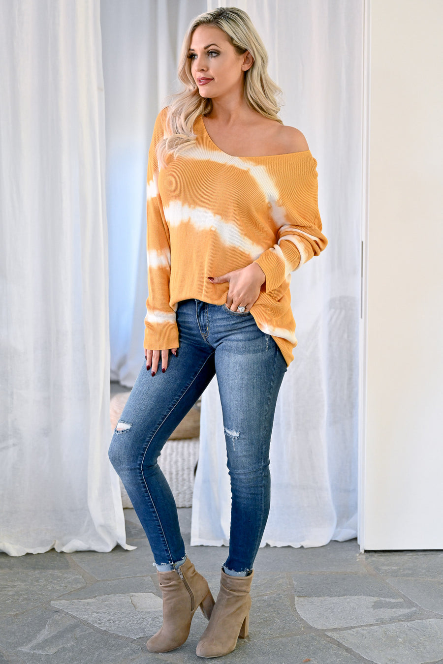 Like This Forever Tie Dye Top - Mustard womens casual oversized ribbed knit long sleeve tie dye top closet candy front