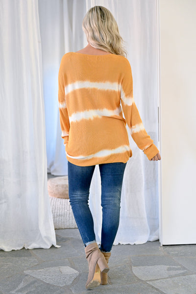 Like This Forever Tie Dye Top - Mustard womens casual oversized ribbed knit long sleeve tie dye top closet candy back