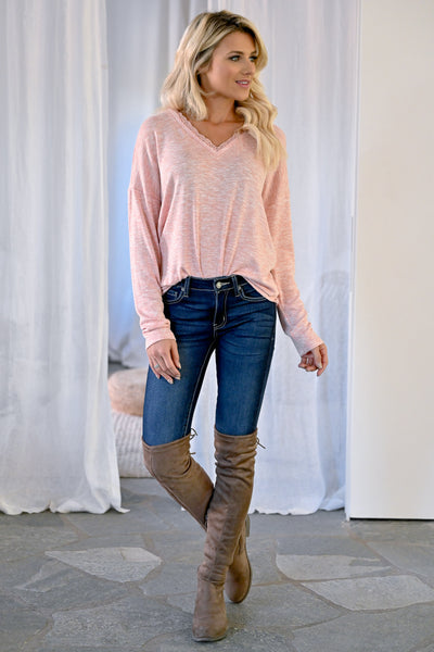 Casual Friday Long Sleeve Top - Blush