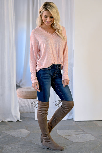 Casual Friday Long Sleeve Top - Blush womens casual long sleeve lace trim v-neck closet candy side