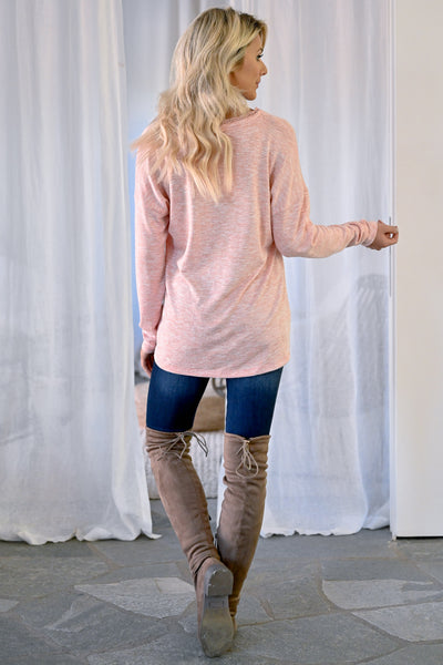 Casual Friday Long Sleeve Top - Blush womens casual long sleeve lace trim v-neck closet candy back