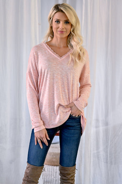 Casual Friday Long Sleeve Top - Blush womens casual long sleeve lace trim v-neck closet candy front