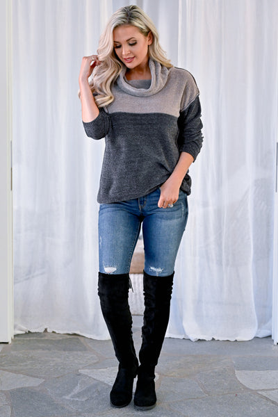 Keep Your Promise Color Block Sweater - Grey womens casual color block cowl neck sweater closet candy front