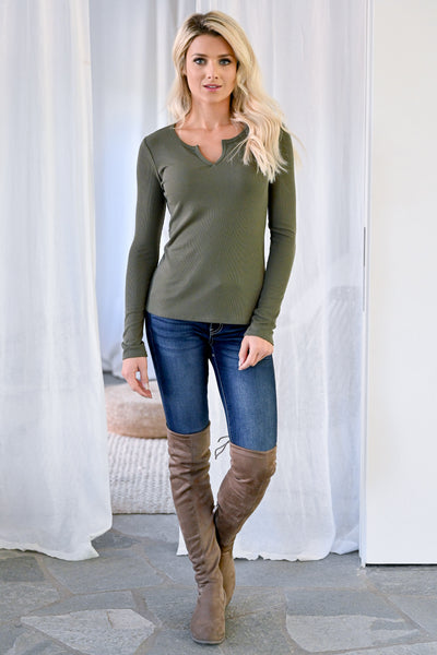 Cover The Basics Long Sleeve Tops womens casual ribbed knit v-notch neckline long sleeve top closet candy olive