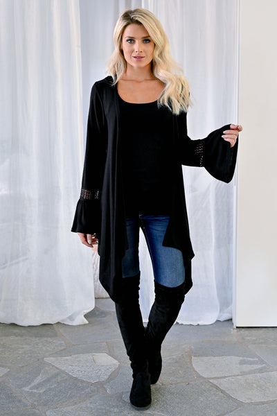 Little Details Bell Sleeve Cardigan - Black womens trendy crochet detail knit cardigan closet candy front