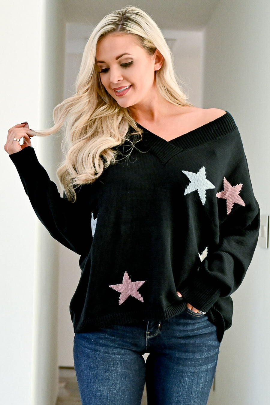 Starry Eyed Sweater - Black womens trendy knit star print long sleeve sweater closet candy front