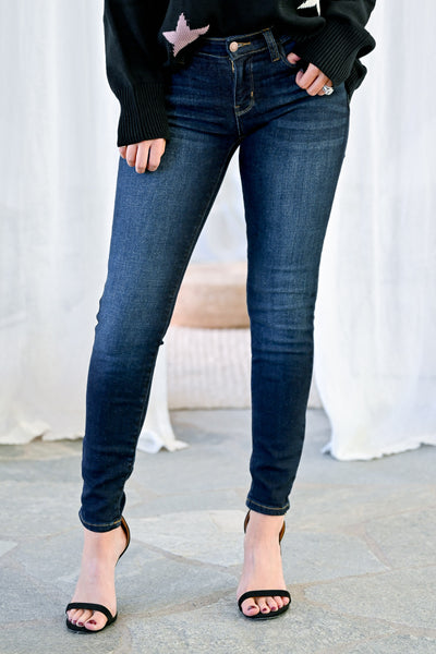 JUDY BLUE Lexi Skinny Jeans - Double Dark Wash womens casual sold skinny jeans closet candy front