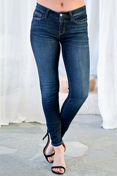 JUDY BLUE Lexi Skinny Jeans - Double Dark Wash womens casual sold skinny jeans closet candy front 2