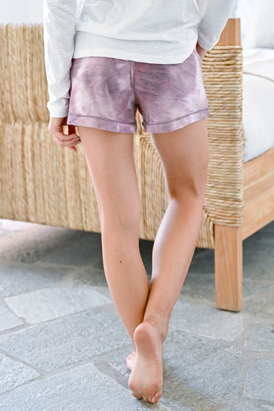 Lounge Ready Tie Dye Shorts - Lavender womens casual tie dye shorts with elastic waistband closet candy back