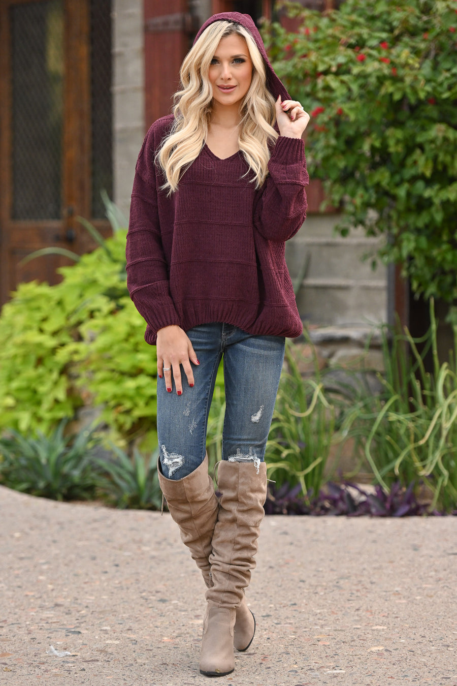 Talk Cozy To Me Hoodie - Wine women's textured bubble hem pullover, Closet Candy Boutique 1