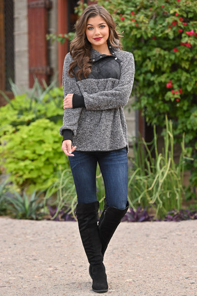Hot Cocoa Cozy Pullover - Charcoal women's soft fuzzy pullover sweater top, Closet Candy Boutique 3