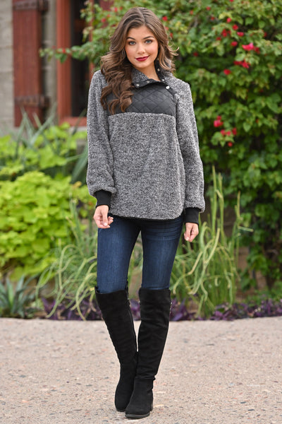Hot Cocoa Cozy Pullover - Charcoal women's soft fuzzy pullover sweater top, Closet Candy Boutique 2