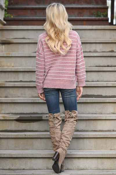Cuddle Me Up Striped Sweater - Dusty Rose women's super soft stripe print top, Closet Candy Boutique 2