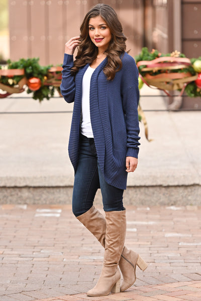 For All Time Cardigan - Navy open front knit cardigan, Closet Candy Boutique 4