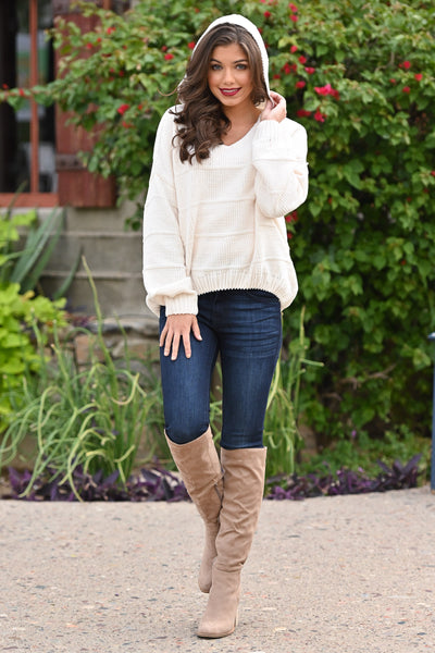 Talk Cozy To Me Hoodie - Cream women's textured bubble hem pullover, Closet Candy Boutique 2