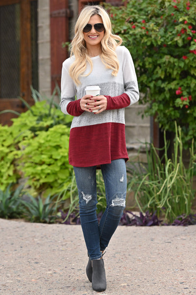 Just The Way It Is Color Block Top - Burgundy women's long sleeve top, Closet Candy Boutique 3