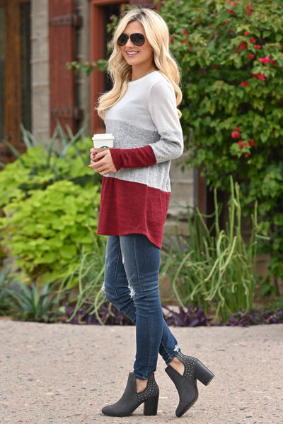 Just The Way It Is Color Block Top - Burgundy women's long sleeve top, Closet Candy Boutique 2