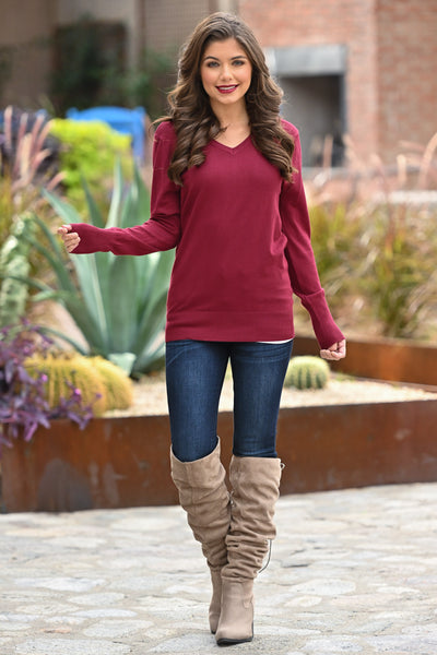 Be Good To Me Top - Cabernet women's long sleeve layering top with buttons, closet candy boutique 3