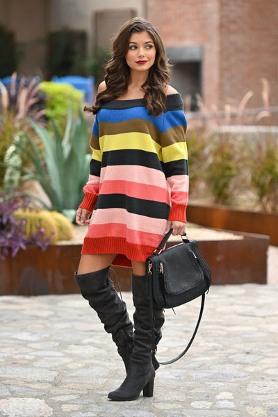 Express Yourself Color Block Sweater Dress - Multicolor colorful vibrant sweater dress, Closet Candy Boutique 2