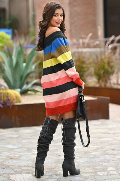 Express Yourself Color Block Sweater Dress - Multicolor colorful vibrant sweater dress, Closet Candy Boutique 4