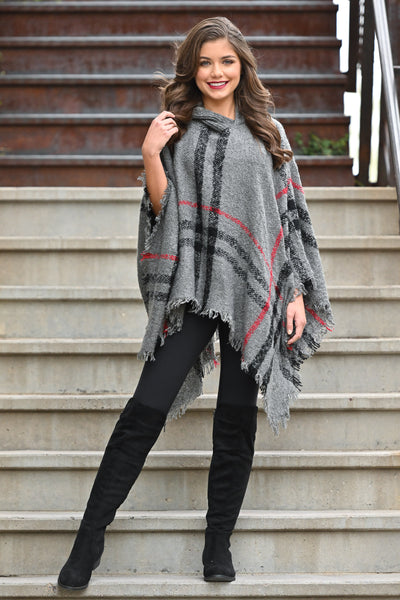 Beat The Chill Hooded Poncho - Charcoal plaid women's hooded pullover poncho, Closet Candy Boutique 3