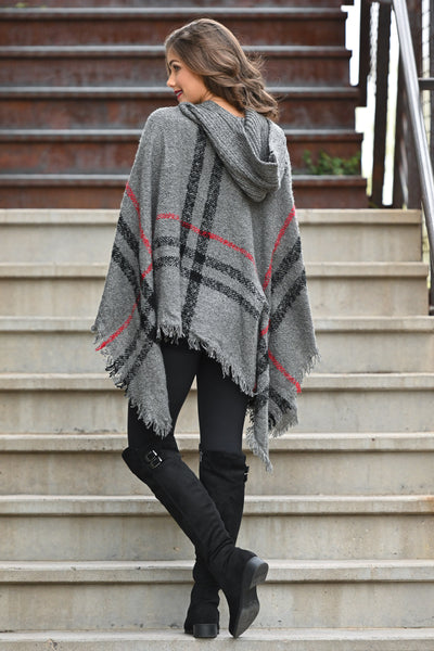 Beat The Chill Hooded Poncho - Charcoal plaid women's hooded pullover poncho, Closet Candy Boutique 2
