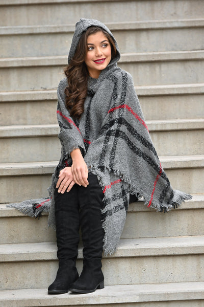 Beat The Chill Hooded Poncho - Charcoal plaid women's hooded pullover poncho, Closet Candy Boutique 4