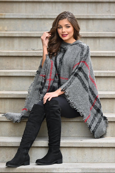 Beat The Chill Hooded Poncho - Charcoal plaid women's hooded pullover poncho, Closet Candy Boutique 1