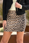 Fashion Week Leopard Skirt - Latte women's vegan suede animal print mini skirt, Closet Candy Boutique 1