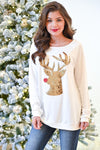 The Most Famous Of All Top - Ivory women's gold and red sequins reindeer, Closet Candy Boutique