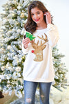 The Most Famous Of All Top - Ivory women's gold and red sequins reindeer, Closet Candy Boutique Front