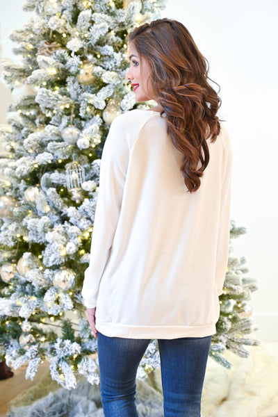 The Most Famous Of All Top - Ivory women's gold and red sequins reindeer, Closet Candy Boutique Back