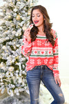 Christmas Countdown Top - Red holiday patterned snowflake top, Closet Candy Boutique 2