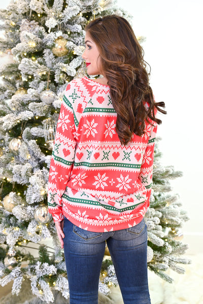 Christmas Countdown Top - Red holiday patterned snowflake top, Closet Candy Boutique Back