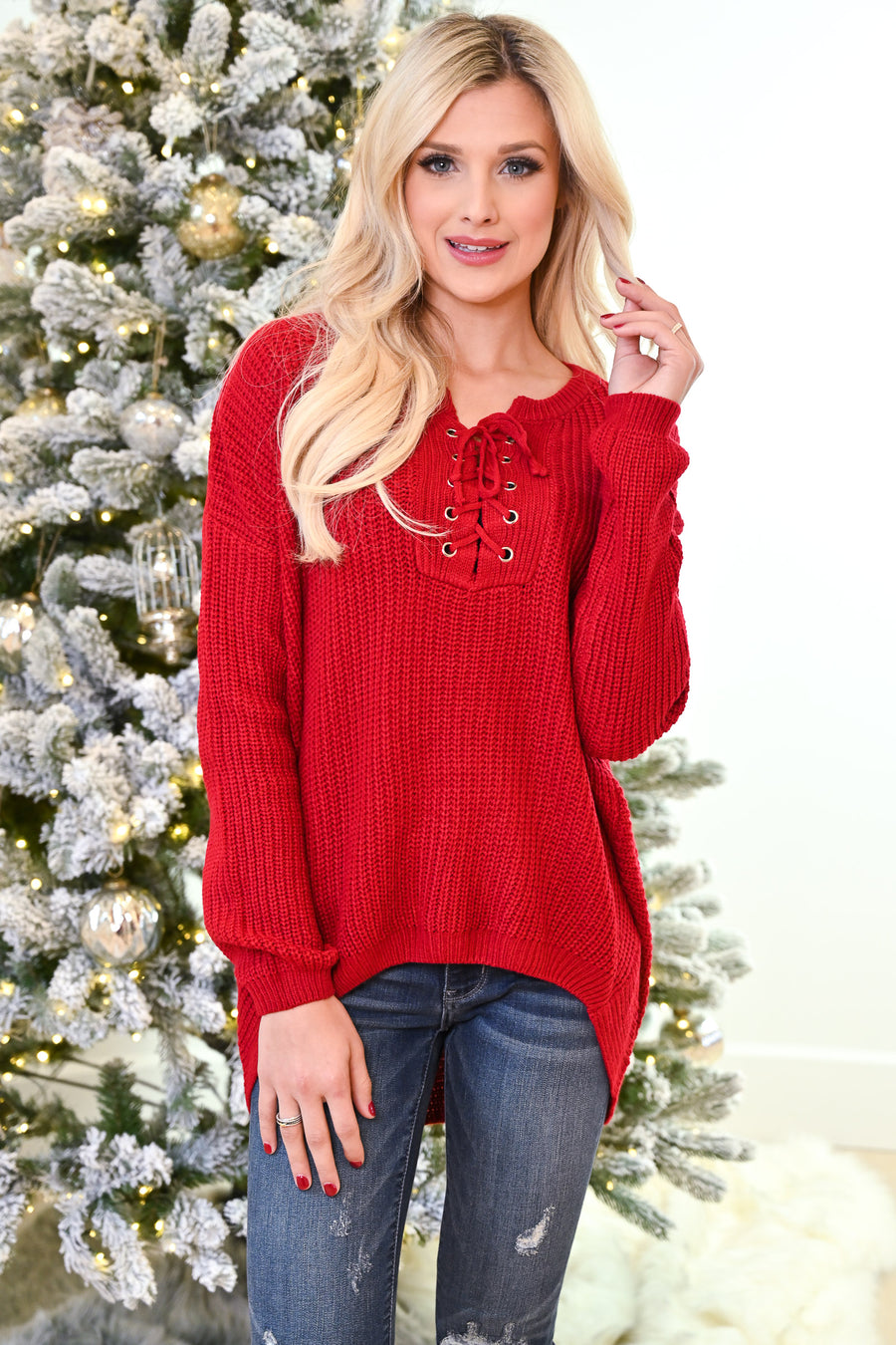 Snuggle Season Lace-Up Sweater - Cherry women's knit top, Closet Candy Boutique 1