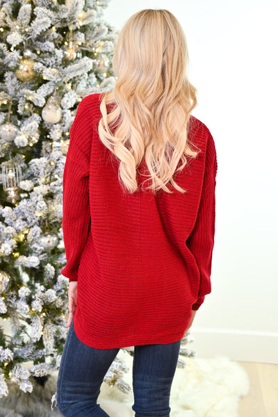 Snuggle Season Lace-Up Sweater - Cherry women's knit top, Closet Candy Boutique 5