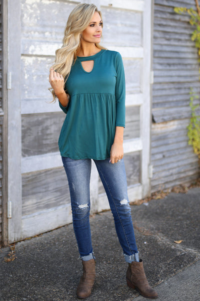 Match Made In Heaven Top - Hunter Green 3/4 sleeve top, front, Closet Candy Boutique
