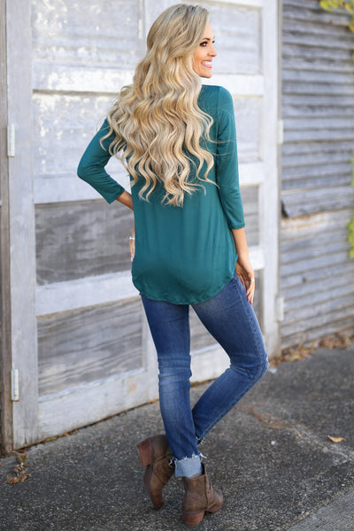 Match Made In Heaven Top - Hunter Green 3/4 sleeve top, back, Closet Candy Boutique