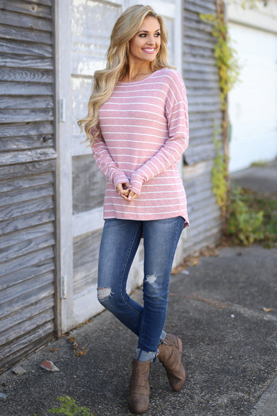 Sights Set On You Top - cute blush/White stripe open back top, front view, Closet Candy Boutique
