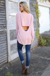 Sights Set On You Top - cute blush/White stripe open back top, back view, Closet Candy Boutique