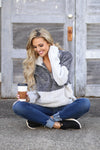Meet Your Match Sweatshirt - Charcoal/Grey color block soft sweatshirt, front, Closet Candy Boutique