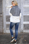 Meet Your Match Sweatshirt - Charcoal/Grey color block soft sweatshirt, back, Closet Candy Boutique