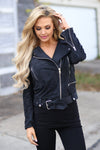 Living the Dream Moto Jacket - Black suede moto jacket, front, Closet Candy Boutique